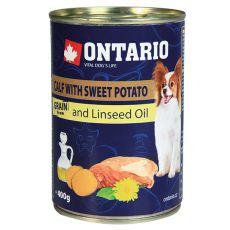 Konzerva pasje hrane ONTARIO s teletino, sladkim krompirjem in lanenim oljem – 400 g