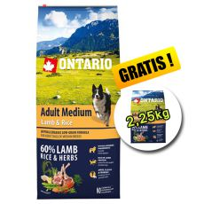 ONTARIO Adult Medium Lamb & Rice 12 kg + 2,25 kg BREZPLAČNO