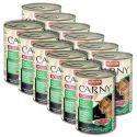 Konzerva mačje hrane CARNY ADULT z govejim, puranjim in zajčjim mesom - 12 x 400 g