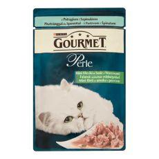 Vrečka GOURMET PERLE - postrv in špinača, 85 g