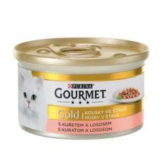 Pločevinka Gourmet GOLD - koščki lososa in piščanca v omaki, 85 g