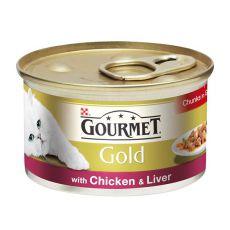 Pločevinka Gourmet GOLD - sočni koščki piščanca in jetrc, 85 g