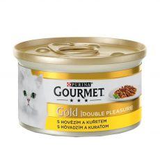 Pločevinka Gourmet GOLD - pečeni in dušeni koščki govedine in piščanca, 85 g