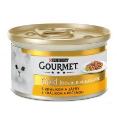 Pločevinka Gourmet GOLD - pečeni in dušeni koščki kunca in jetrc, 85 g