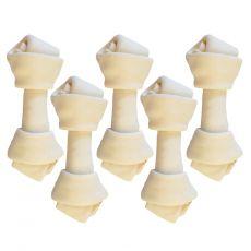 Goveja kost za žvečenje, bela 6,26 cm / 5 kosov