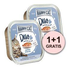 Happy Cat DUO MENU - govedina in trska, 100 g + 100 g GRATIS