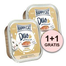 Happy Cat DUO MENU - govedina in kunec, 100 g + 100 g GRATIS