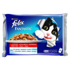 Vrečke FELIX Fantastic - govedina in piščanec v želatini, 400 g