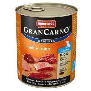 Konzerva pasje hrane GranCarno Original Junior z govedino in piščancem - 800 g