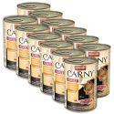 Konzerva mačje hrane CARNY ADULT  z govedino in piščančjimi ter račjimi srci - 12 x 400g