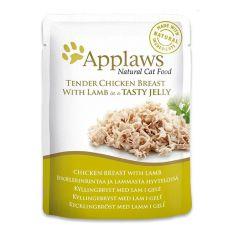 Vrečka z mačjo hrano APPLAWS, piščanec in jagnjetina v želatini, 70 g