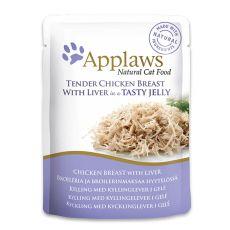 Vrečka z mačjo hrano APPLAWS, piščanec in jetra v želatini, 70 g