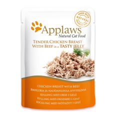 Vrečka z mačjo hrano APPLAWS, piščanec in govedina v želatini, 70 g