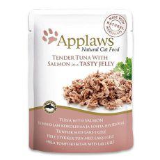 Vrečka z mačjo hrano APPLAWS, tuna in losos v želatini, 70 g