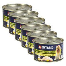 Konzerva pasje hrane ONTARIO z gosjim mesom, brusnicami in lanenim oljem, 6x 200g
