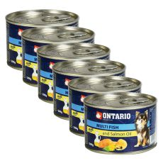 Konzerva pasje hrane ONTARIO z ribami in lososovim oljem, 6 x 200g