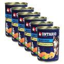 Konzerva pasje hrane ONTARIO z ribami in lososovim oljem, 6 x 400g