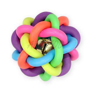 Žoga za pse z zvončkom - prepletena, 10,5 cm