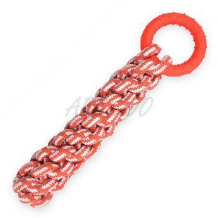 Bombažna vrv z gumijastim obročem, oranžna – 30 cm