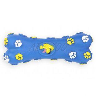 Pasja igrača – piskajoča kost iz vinila, modra, 15 cm
