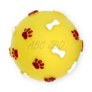 Vinilna žoga s kostmi in tačkami, rumena – 9 cm