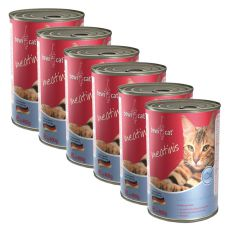 Konzerva BEWI CAT Meatinis LOSOS - 6 x 400 g, 5+1 GRATIS