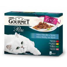 Mačja hrana v vrečkah GOURMET PERLE - mini fileti v omaki, 8 x 85 g