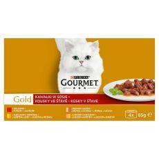 Mačja hrana v konzervah Gourmet GOLD – koščki mesa v omaki, 4 x 85 g