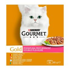 Mačja hrana v konzervah Gourmet GOLD – obara z mesnimi koščki, 8 x 85 g