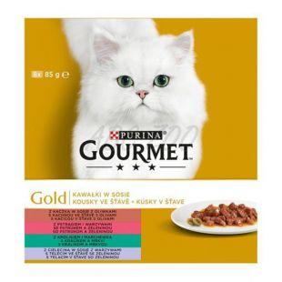 Mačja hrana v konzervah GOURMET GOLD – mesni koščki v omaki, 8 x 85 g