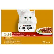 Mačja hrana v konzervah Gourmet GOLD – mesni koščki v omaki, 12 x 85 g