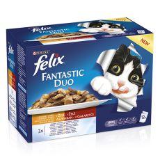 Mačja hrana v vrečkah FELIX Fantastic Duo – okusno meso v želatini, 12 x 100 g