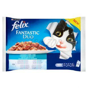 Mačja hrana v vrečkah FELIX Fantastic Duo – okusen izbor ribje hrane, 400 g