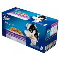 Mačja hrana v vrečkah FELIX Fantastic – okusen izbor hrane v želatini, 44 x 100 g