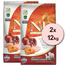 Farmina N&D dog GF PUMPKIN adult medium/maxi, chicken & pomegranate - 2 x 12 kg