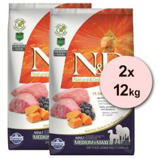 Farmina N&D dog GF PUMPKIN adult medium/maxi, lamb & blueberry - 2 x 12 kg