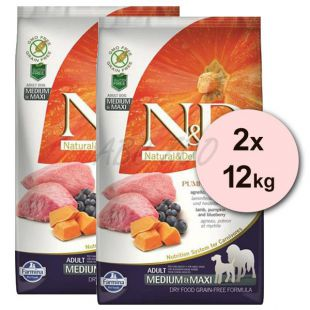 Farmina N&D dog GF PUMPKIN adult medium/maxi, lamb & blueberry - 2 x 12 kg
