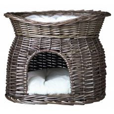 Pletena postelja za pse in mačke – siva