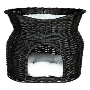 Pletena postelja za pse in mačke – črna