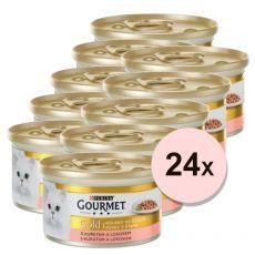 Pločevinka Gourmet GOLD - koščki lososa in piščanca v omak 24 x 85g