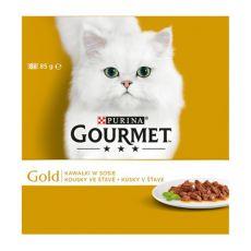 Konzerva mačje hrane GOURMET GOLD, koščki v omaki, 8 x 85 g