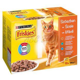 Vrečke mačje hrane FRISKIES – mesni miks v omaki, 12 x 100 g