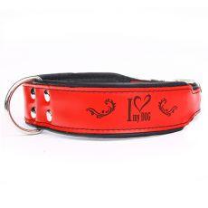 Usnjena ovratnica I love my dog, rdeče-črna 5 cm x 60 - 73 cm