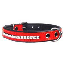 Usnjena ovratnica Super studded, rdeče-črna 2,5 x 56 cm