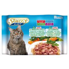 Vrečke z mačjo hrano Stuzzy Cat MULTIPACK šunka in teletina + zajec v želatini 4 x 100 g