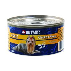 Konzerva pasje hrane ONTARIO Adult, koščki piščanca in želodec, 200 g