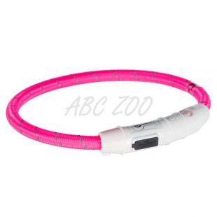 LED svetlobna ovratnica XS-S, roza, 35 cm