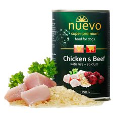 Konzerva NUEVO DOG Junior Chicken & Beef 400 g