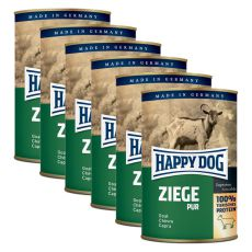 Happy Dog Pur - Goat / koza, 6 x 400 g, 5 + 1 GRATIS