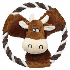 Piskajoča krava iz pliša z vrvjo, 20 cm